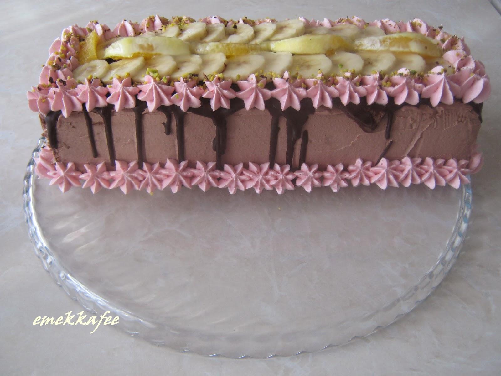 muzlu pasta,çikolatalı pasta,krem şantili pasta,pasta,ev yapımı