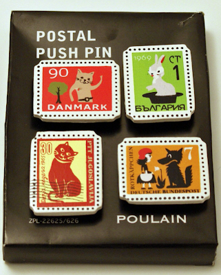 postal stamp pushpins
