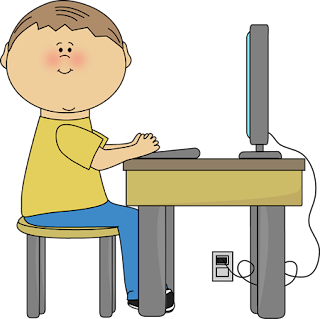 boy on computer clip art