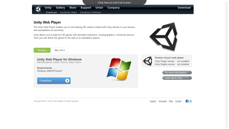 Unity web player error update