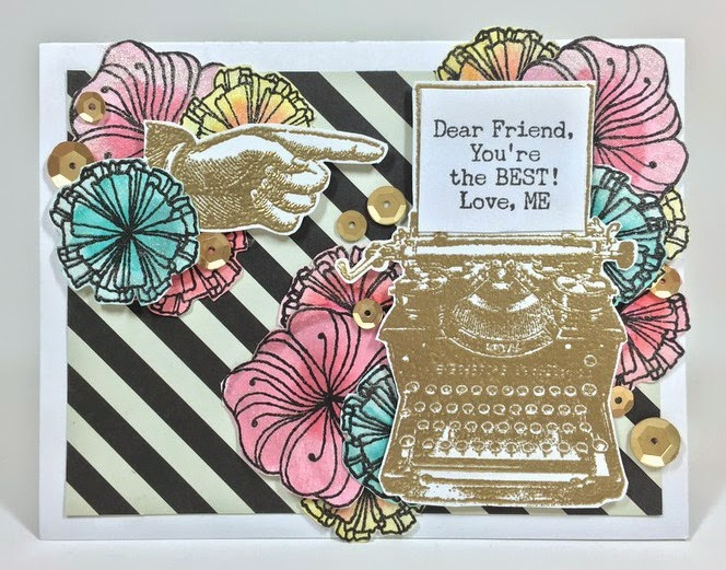 Floral Typewriter card