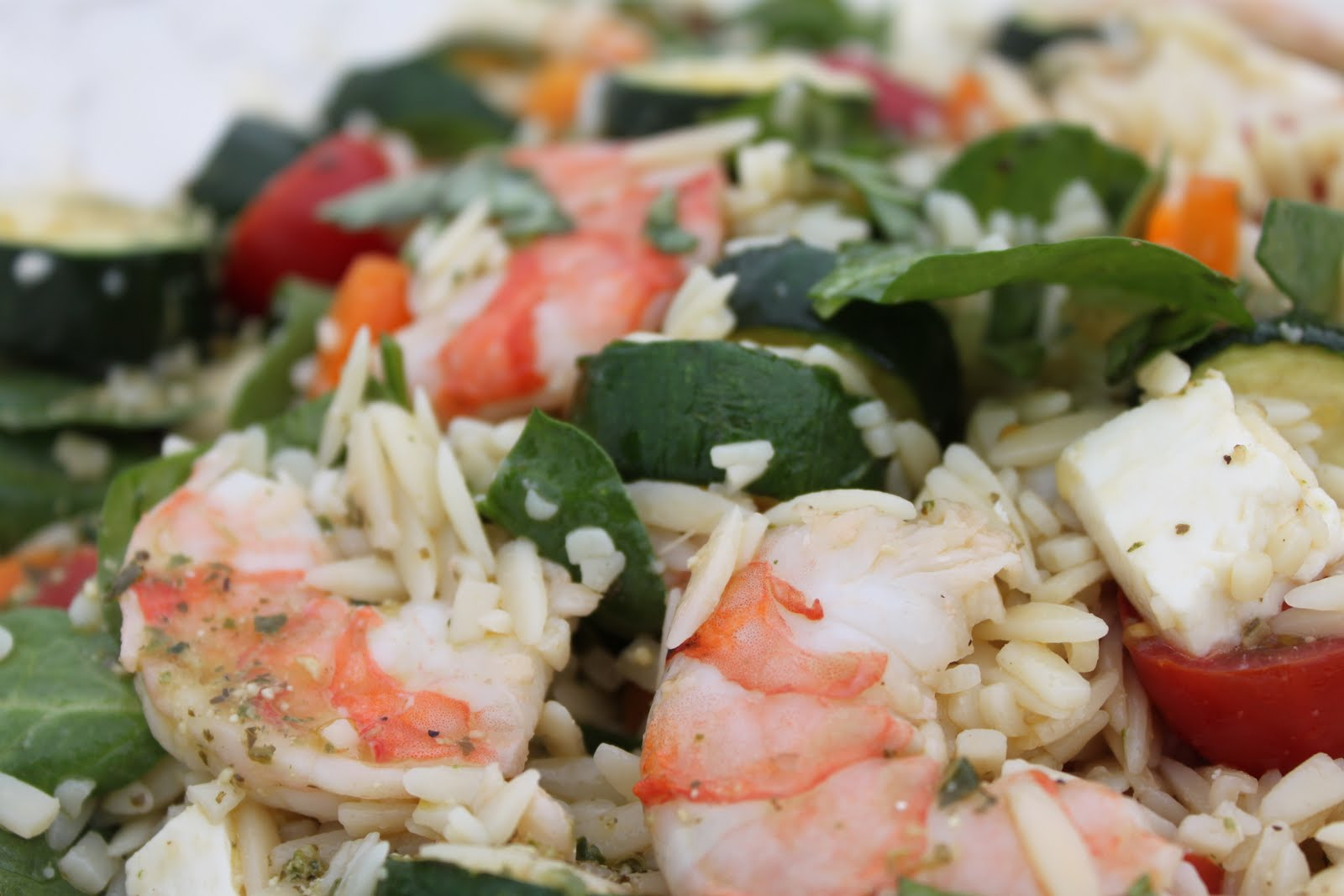 Orzo, Shrimp and Summer Vegetable Salad with Pesto ...