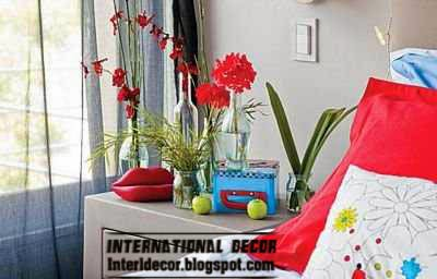 artificial plants for bedroom, red flowers