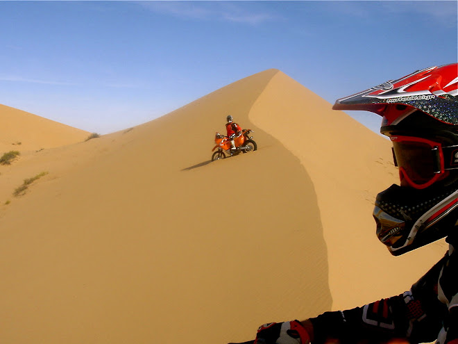 Big dunes.  Kevin close, and me and my 660 slowly sinking...
