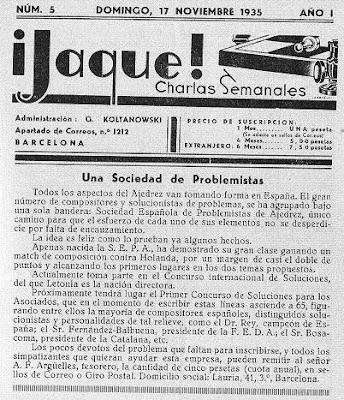 Revista ¡Jaque! del 17 de noviembre de 1935, creación de la SEPA