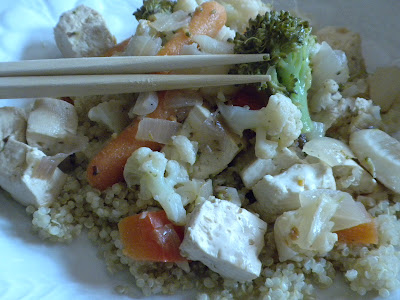 Lemon-Garlic Tofu Stirfry over Quinoa