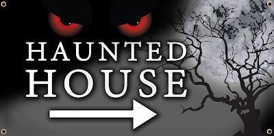 Haunted House Vinyl Banner | Banners.com