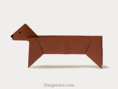 Cách gấp, xếp con Chó Dachshund bằng giấy origami - Video hướng dẫn xếp hình - How to make a Dog