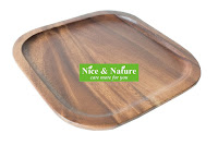 Acacia Wood Plate Set of 4, Acacia Square Plates  #Acacia
