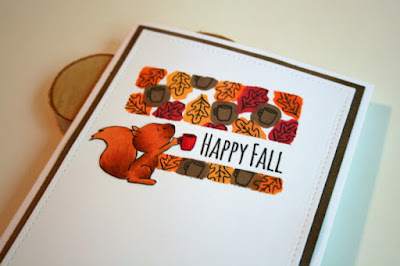 Coffee Loving Squirrel with Reverse Stamping by Jess Crafts using Gerda Steiner Designs Happy Fall