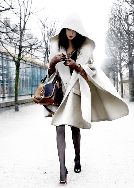 White hooded coat black Louboutins