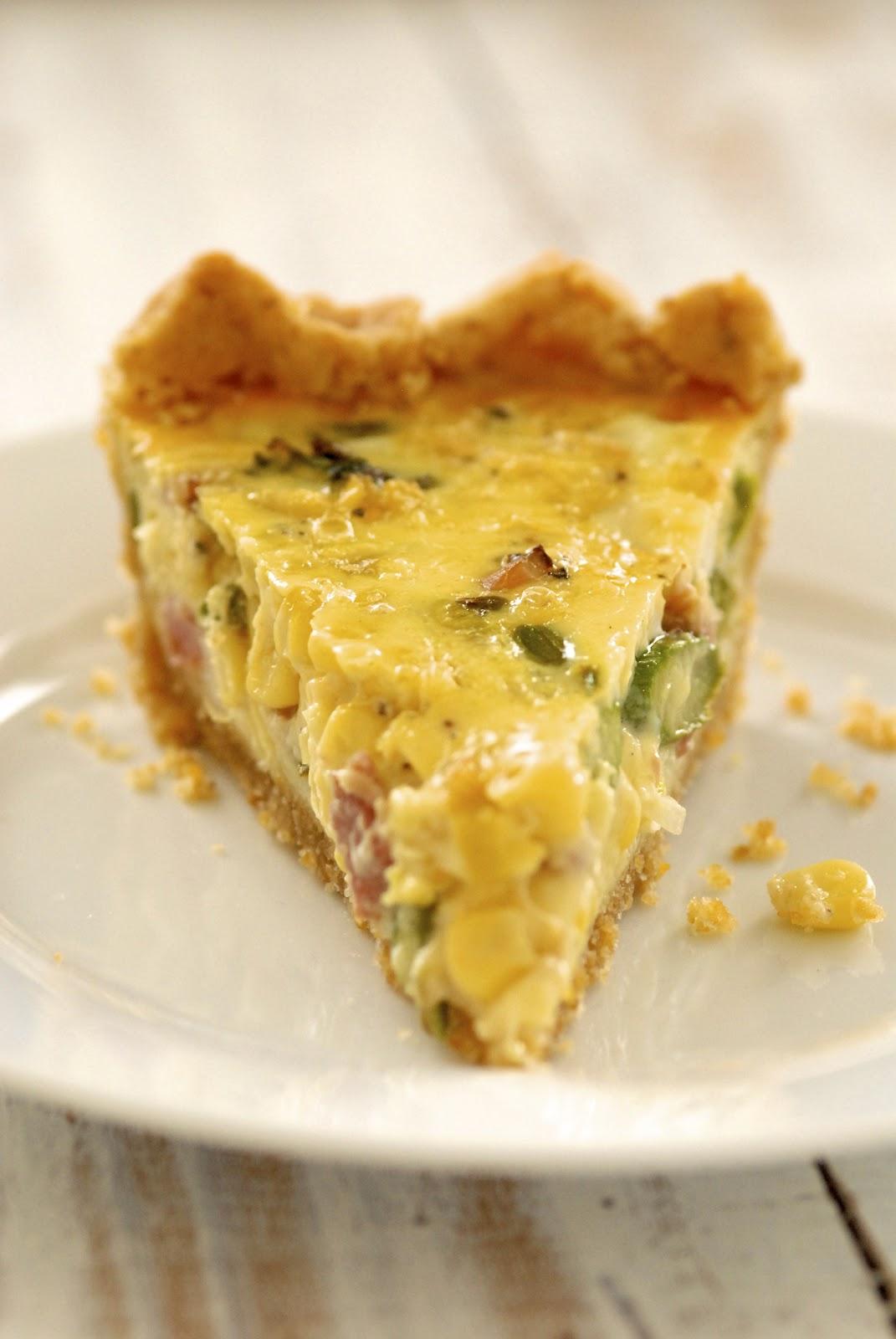 White Corn, Asparagus & Ham Quiche with Frito Pastry Crust | Kumquat