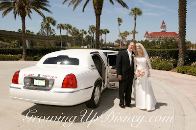 wedding couple beside limo