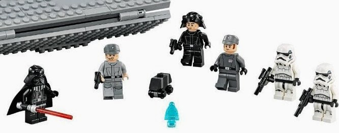 personajes de lego star wars destructor estelar Darth Vader, oficial imperial, 2 Stormtroopers, tripulación imperial, Imperial Navy Trooper y el holograma del Emperador Palpatine y un Mouse Droid.