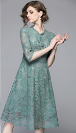 2018 Half Sleeve Pastel Green Rose Lace Dress