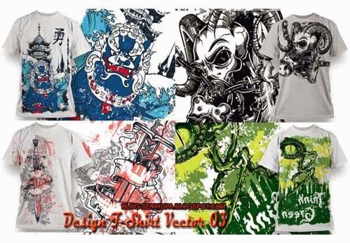 Gambar Desain Baju Kaos T Shirt Vector 03