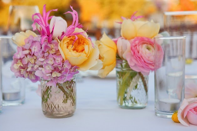 Mason jar centerpiece with flowers