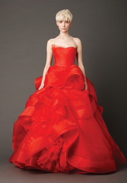 Red Tiered Ball Gown Wedding Dress 2013 from Vera Wang