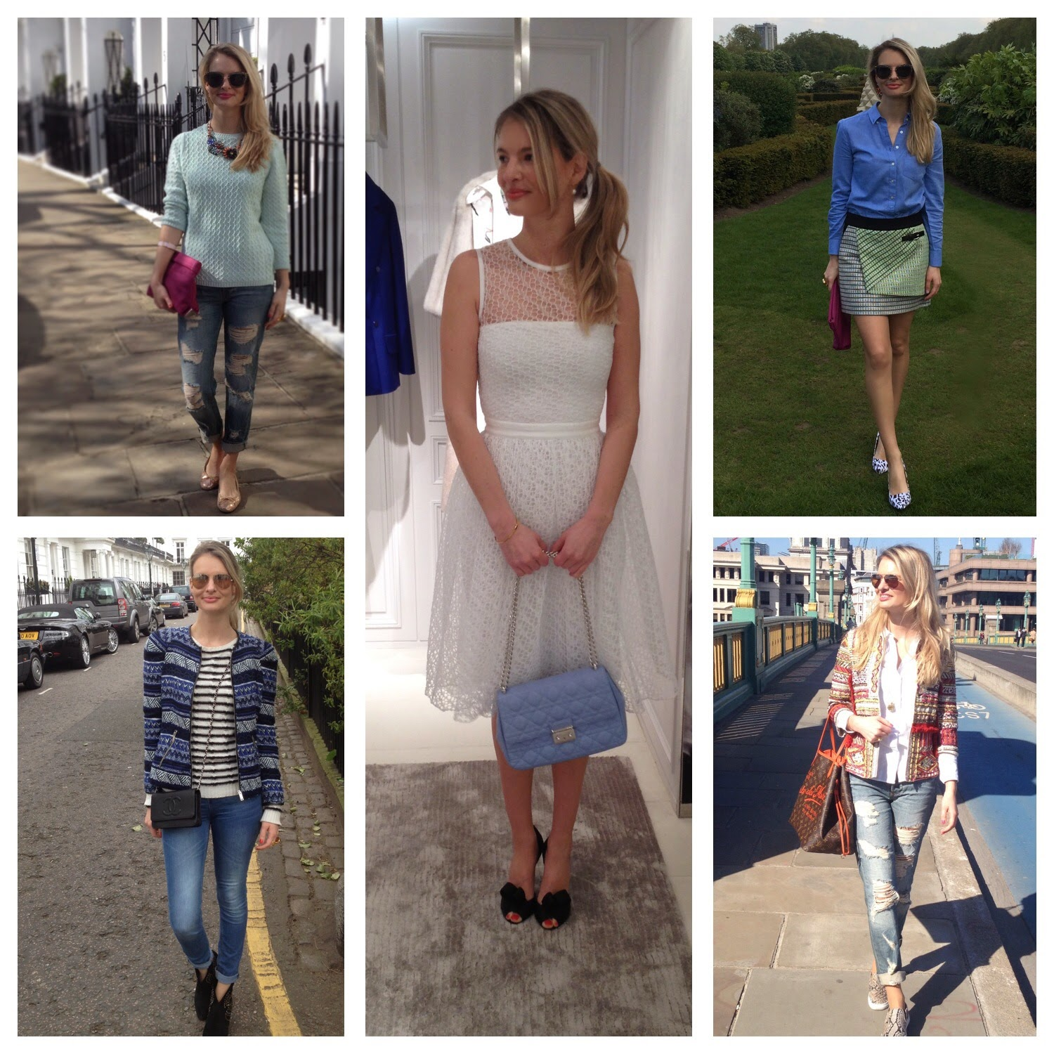 fashion blogger, chrissabella, april favourite looks, lookbook, street style, dior, dior dress, karen millen, karen millen skirt, gap shirt, gap, ripped jeans, ripped boyfriend jeans, mint jumper, lace dress, white lace dress, miss dior bag, baby blue bag, baby blue miss dior bag, ash boots, chanel bag
