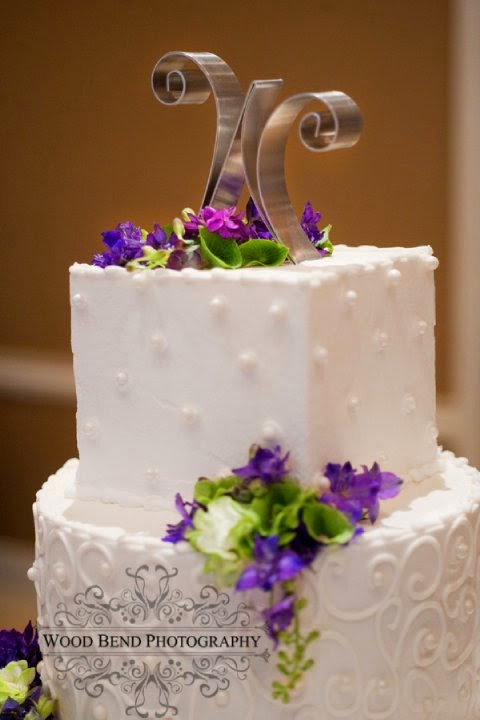 The Blooming Bride, DFW, Fort Worth, Texas, Wedding Flowers, wedding cake, purple, white cake, cake decorations, cake letters