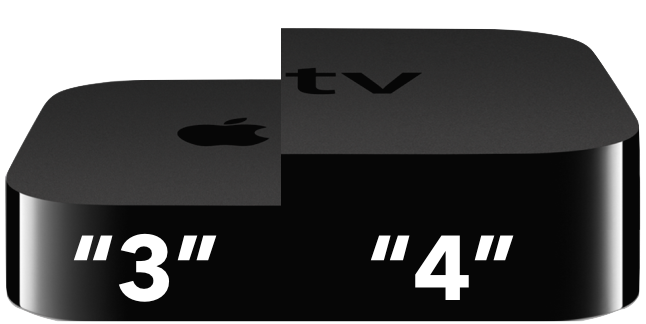 New Apple TV 3 next to an Apple TV 4