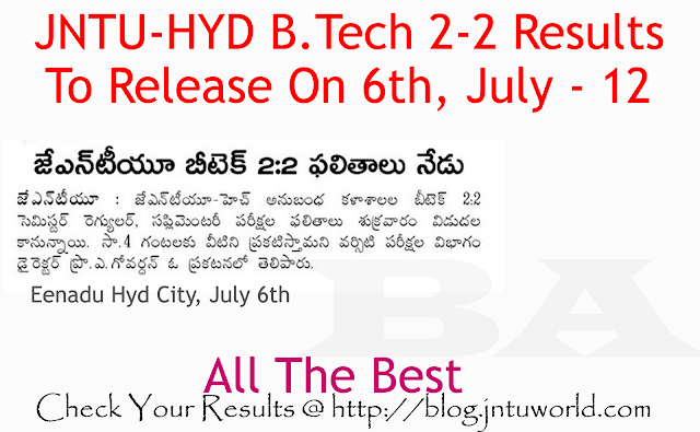 JNTU-HYD B.Tech 2-2 Results