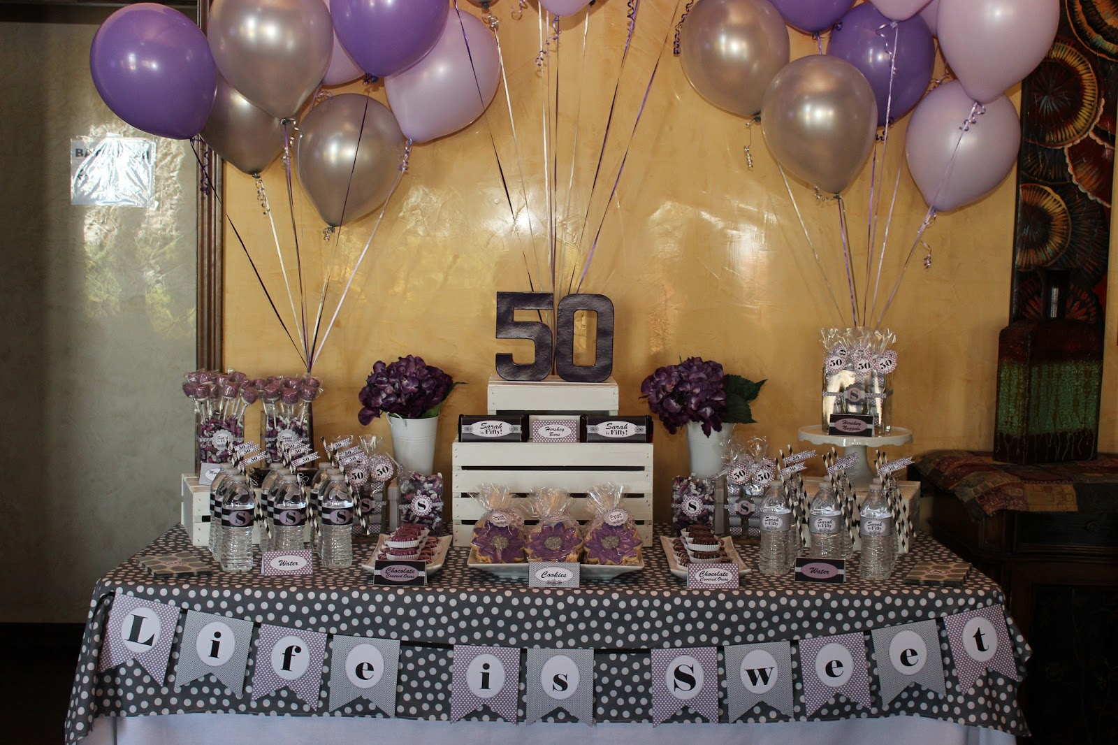 The sugar bee bungalow party bee sarah 39 s 50th birthday for 50 birthday decoration ideas