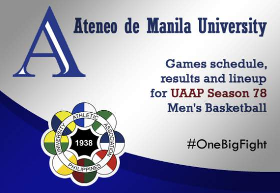 games schedule, results and lineup for UAAP Season 78 Men's Basketball