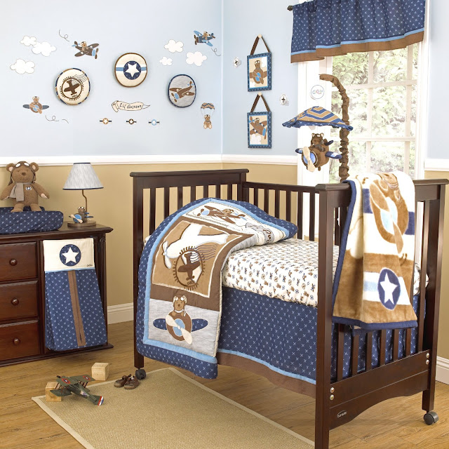 Airplane themed nursery bedding thenurseries - Airplane baby bedding sets ...