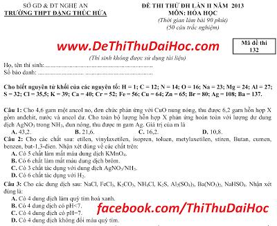 6 de thi thu dai hoc mon Hoa co dap an 2013