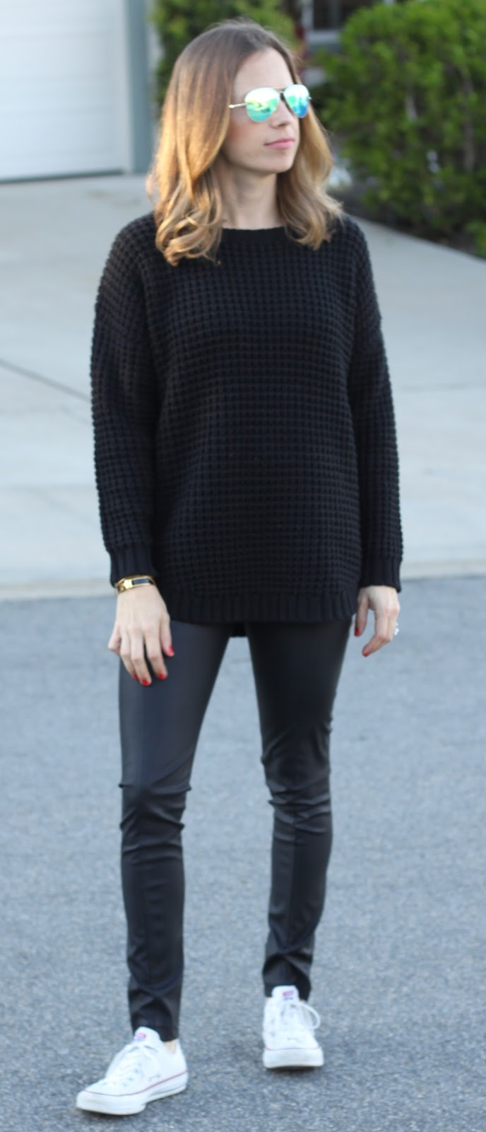 black sweater and legging outfit