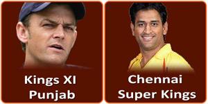 चैन्नई सुपर किंग्स बनाम किंग्स एलेवन पंजाब 2 मई 2013 को है।