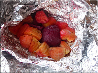 organic beets grilled in foil packet