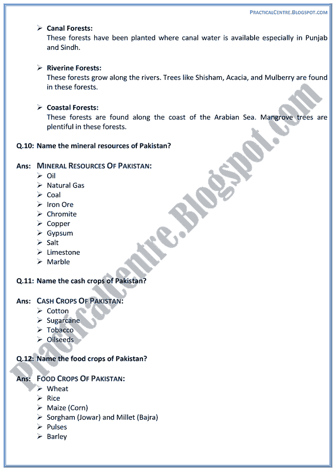 resources-of-pakistan-short-question-answers-pakistan-studies-9th