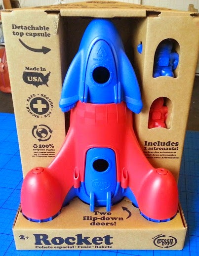 Green Toys recycled plastic toy rocket ship and astronauts
