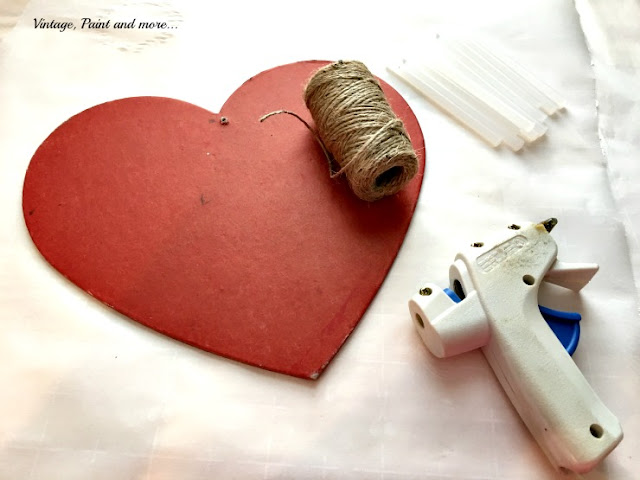 thrifted wooden heart used to make diy twine heart
