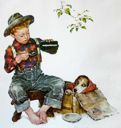 illustration by Norman Rockwell of a boy giving medicine to his sick puppy