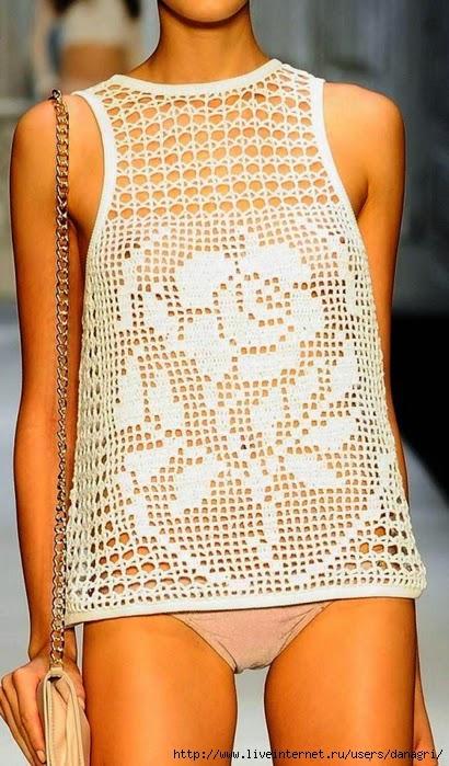 Patrón de Blusa sin mangas con crochet filet