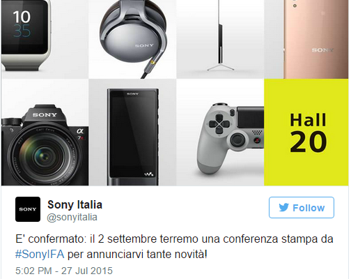 Sony on 2 September, the keynote of the IFA