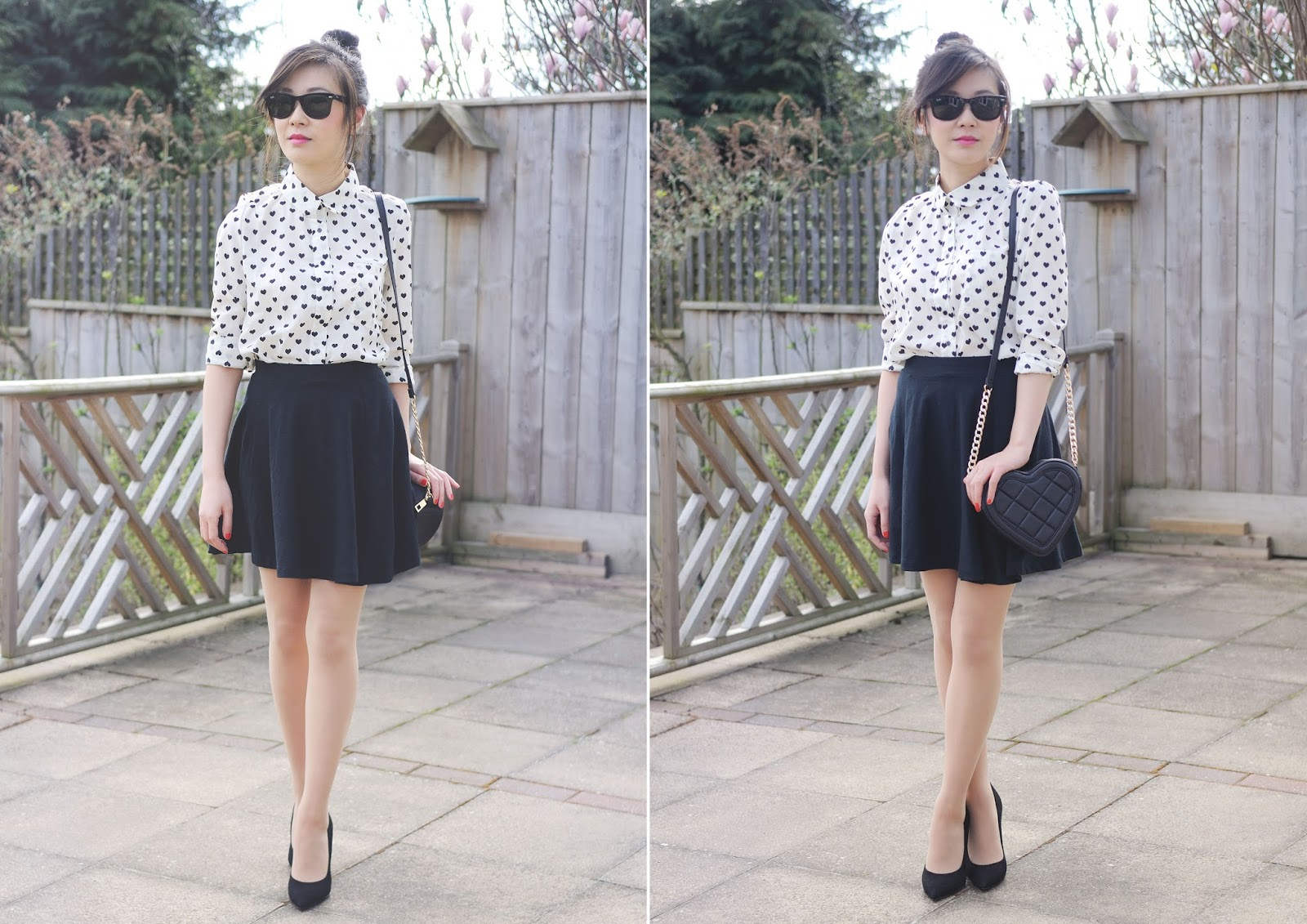 fashion blogger uk, style blogger, ways to wear monochrome, heart print shirt