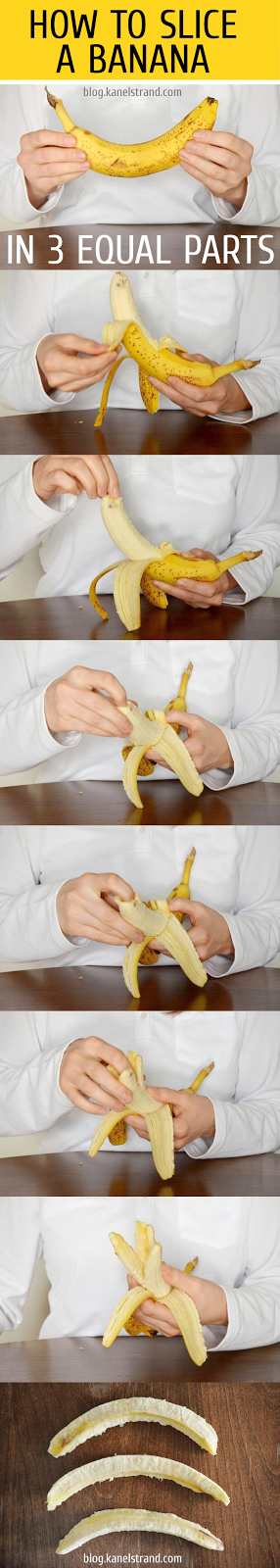 How to slice a banana in 3 equal parts without a knife