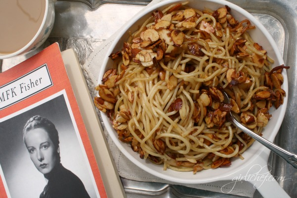 <b>Spaghetti w/ Almonds in Cinnamon Honey Butter</b> {cook the books: How to Cook a Wolf by MFK Fisher}