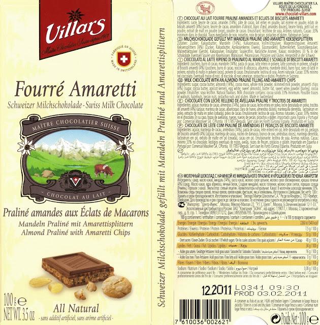 tablette de chocolat lait fourré villars lait fourré amaretti praliné aux eclats de macarons
