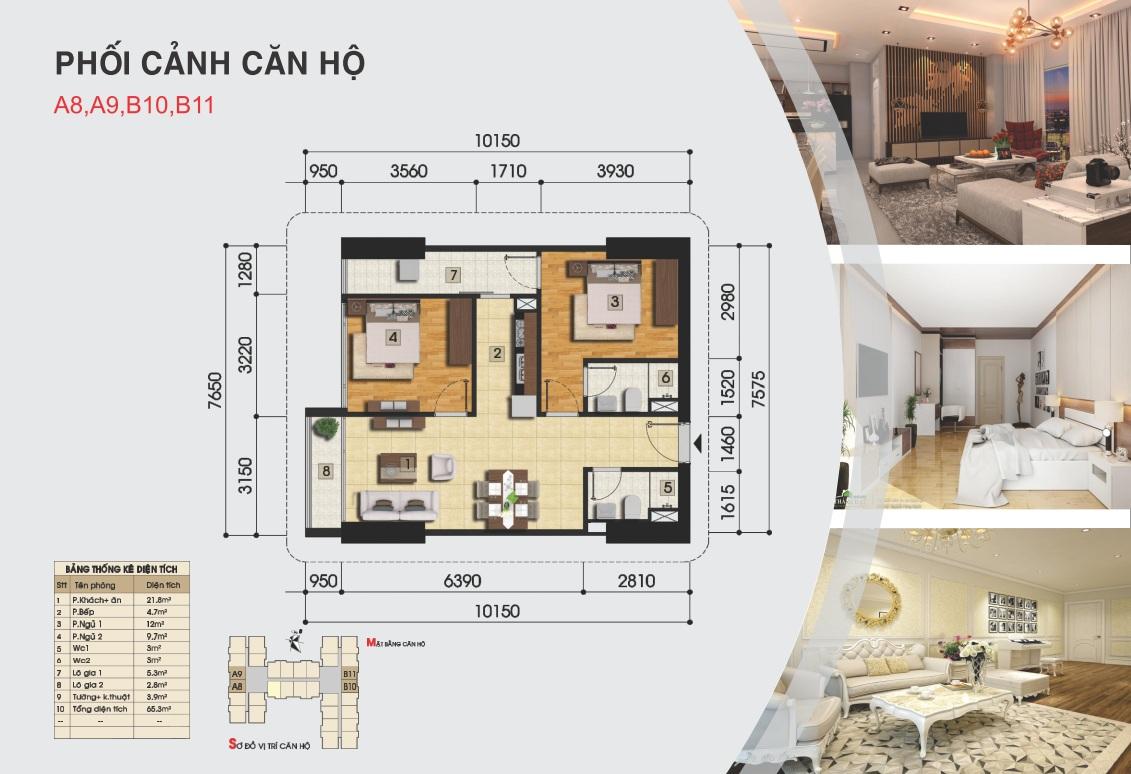 Thiết kế căn hộ a8, a9, b10, b11 - Chung cư Gemek Premium