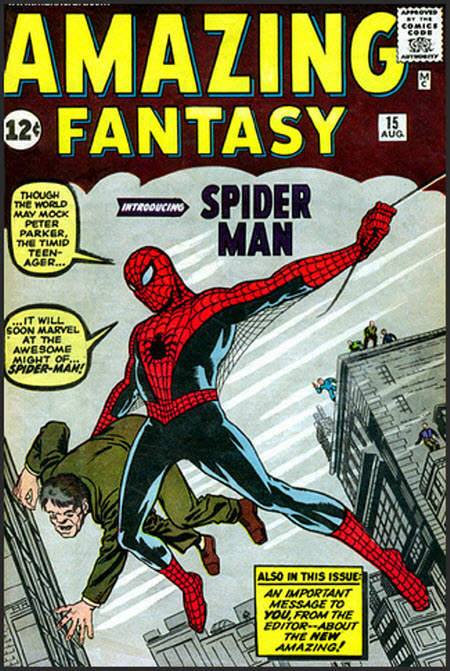 Tapa del primer comic del Hombre Araña (Spiderman)