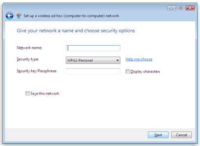 Set up a wireless ad hoc (computer-to-computer) network security options