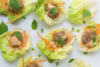 Asian Pork Meatballs with Quick Pickled Vegetables and Spicy Mayonnaise