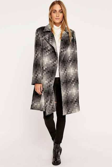 grey squared coat, Little White Lies grey coat,