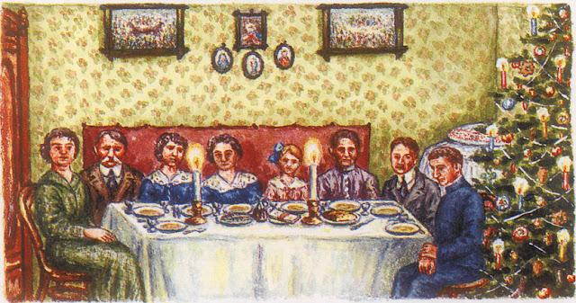 Końskie 1914, rodzina Kaplów przy stole wigilijnym. Rysunek Kazimierza Kapla.