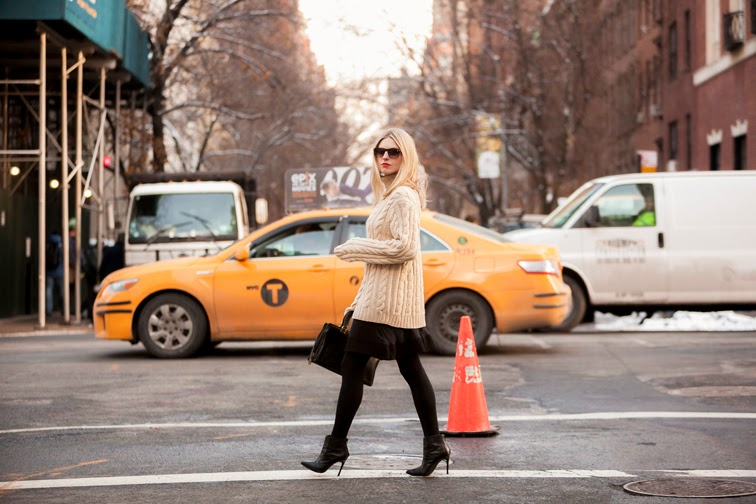 Fashion Over Reason, fashion blog, personal style, OOTD, NYC, New York City, yellow cab, on the street, street style, fall winter, chunky cable knit turtleneck, stiletto booties, Balenciaga skirt, leather bag